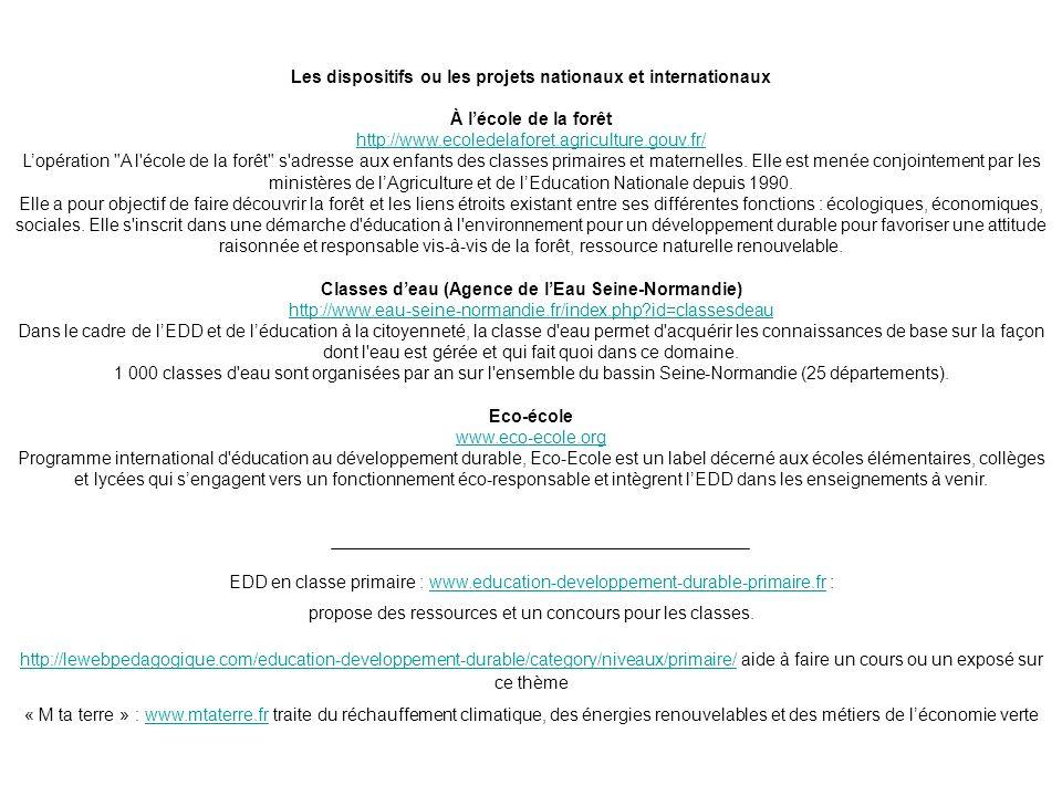 Les dispositifs ou les projets nationaux et internationaux À lécole de la forêt http://www.ecoledelaforet.agriculture.gouv.fr/ Lopération