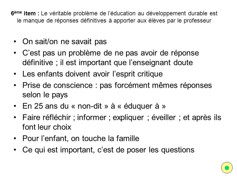 6 ème item : Le véritable problème de léducation au développement durable est le manque de réponses définitives à apporter aux élèves par le professeu
