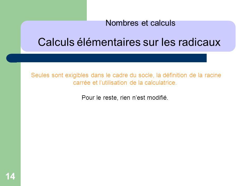 14 Nombres et calculs Calculs élémentaires sur les radicaux Seules sont exigibles dans le cadre du socle, la définition de la racine carrée et lutilis