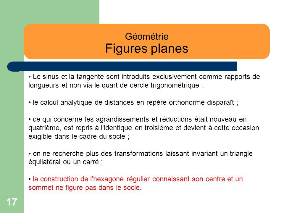 17 Géométrie Figures planes Le sinus et la tangente sont introduits exclusivement comme rapports de longueurs et non via le quart de cercle trigonomét