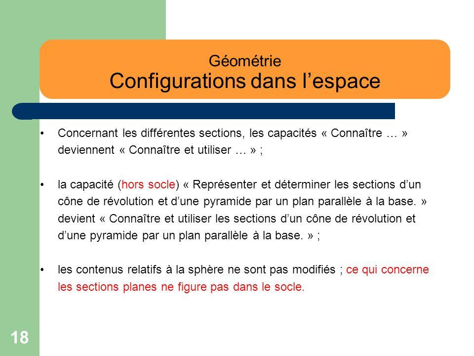 18 Géométrie Configurations dans lespace Concernant les différentes sections, les capacités « Connaître … » deviennent « Connaître et utiliser … » ; l