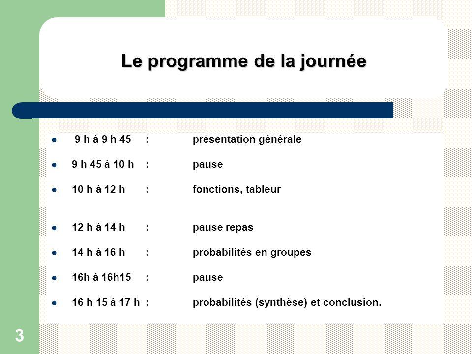 3 Le programme de la journée 9 h à 9 h 45 : présentation générale 9 h 45 à 10 h : pause 10 h à 12 h : fonctions, tableur 12 h à 14 h : pause repas 14