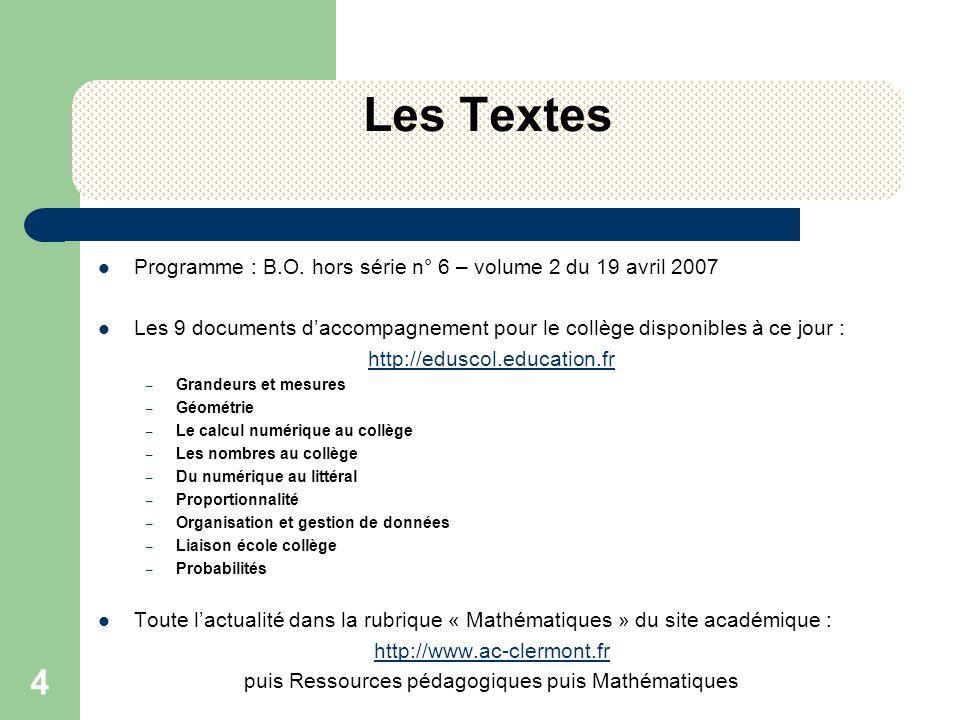 4 Les Textes Programme : B.O. hors série n° 6 – volume 2 du 19 avril 2007 Les 9 documents daccompagnement pour le collège disponibles à ce jour : http
