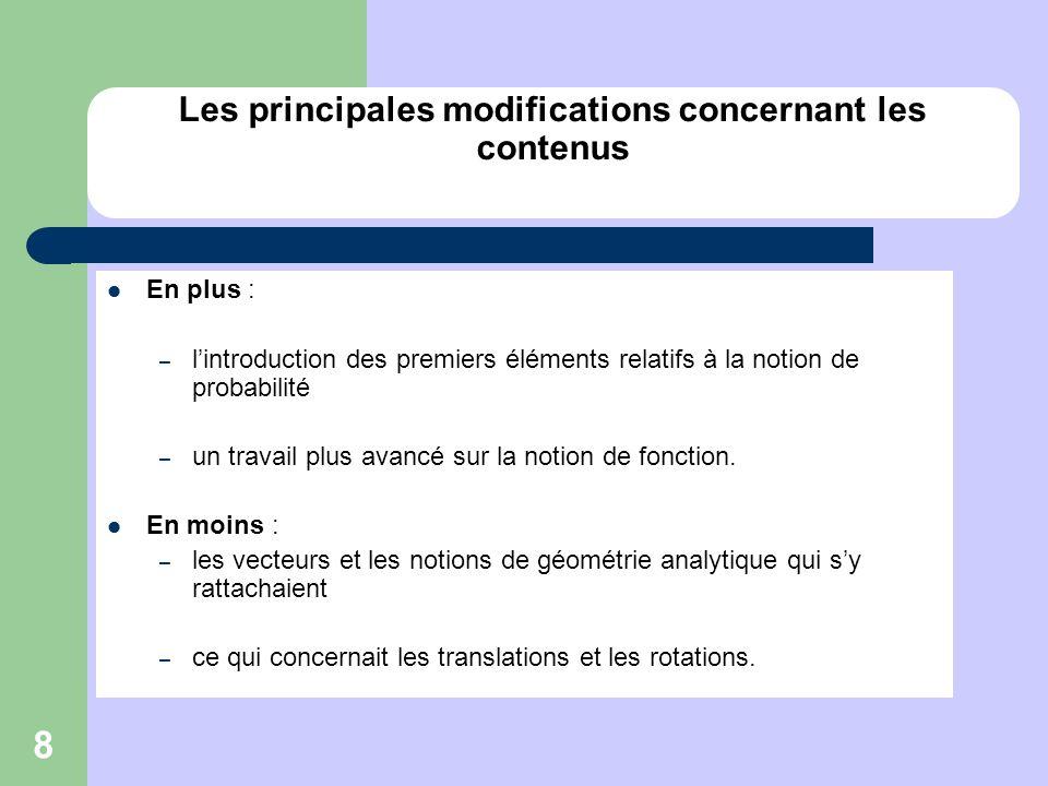 8 Les principales modifications concernant les contenus En plus : – lintroduction des premiers éléments relatifs à la notion de probabilité – un trava