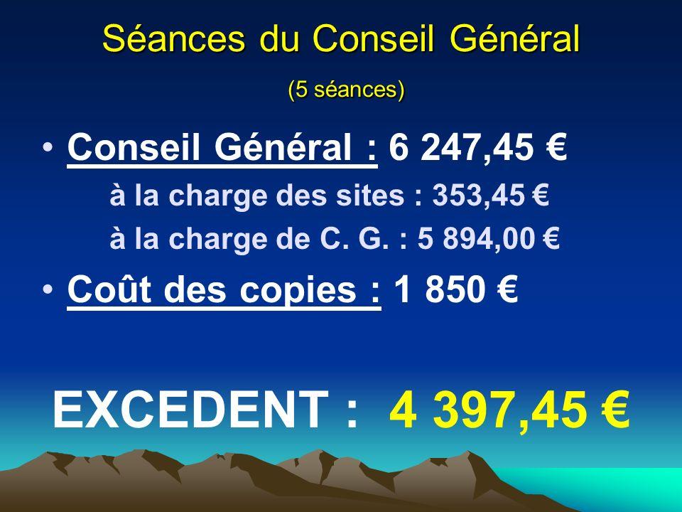 Séances du Conseil Général (5 séances) Conseil Général : 6 247,45 à la charge des sites : 353,45 à la charge de C.