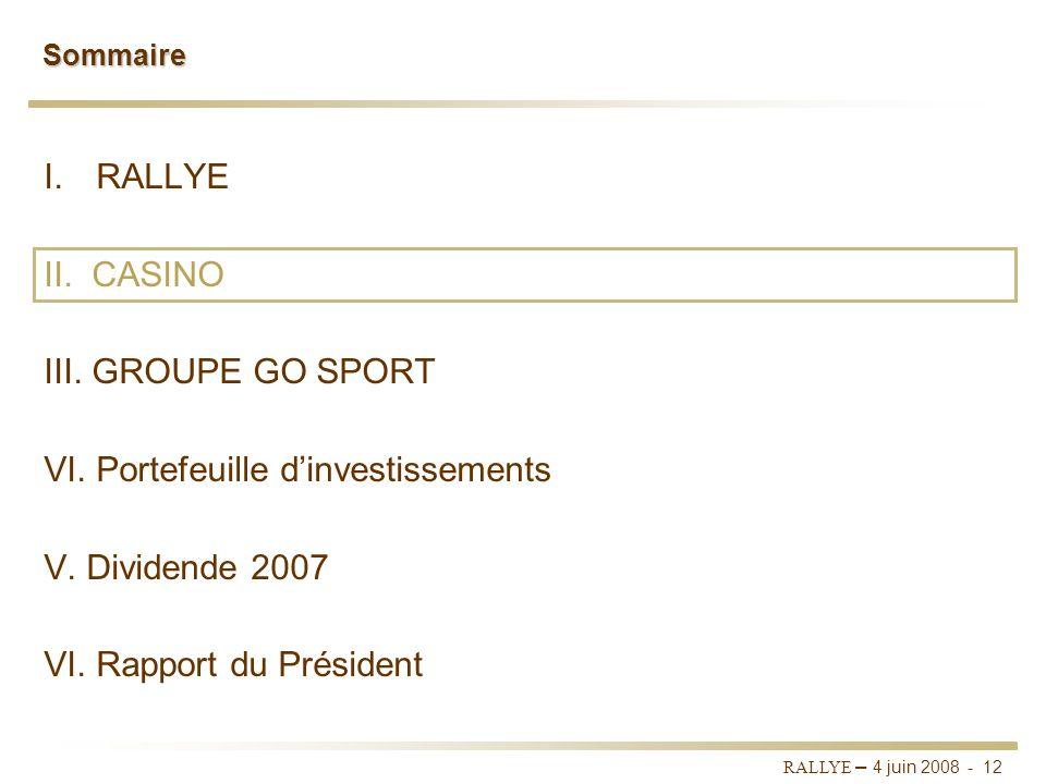RALLYE – 4 juin 2008 - 11 Couverture des frais financiers par les dividendes En 2007, les dividendes perçus par Rallye couvrent plus de 1,7 fois les f