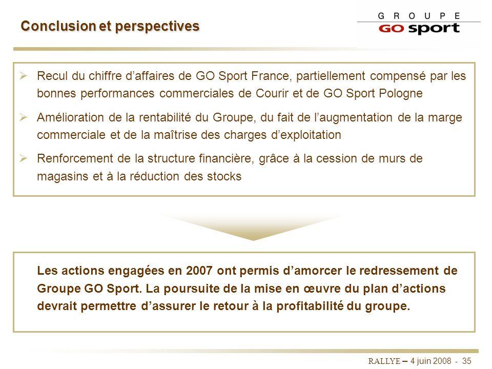 RALLYE – 4 juin 2008 - 34 Plan dactions Groupe GO Sport Réorganisation des achats et de la supply chain Réduire le parc fournisseurs afin de concentre