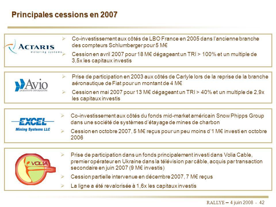 RALLYE – 4 juin 2008 - 41 Un portefeuille diversifié qui comprend près de 230 lignes Valeurs au 31/12/07Investissements 2007Appréciations de valeur 20