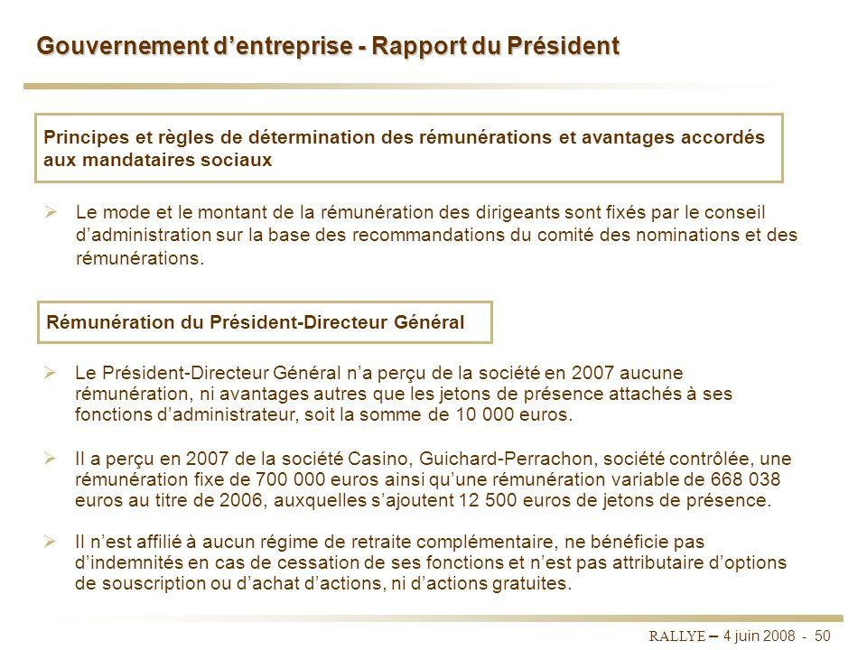 RALLYE – 4 juin 2008 - 49 Gouvernement dentreprise - Rapport du Président Le conseil dadministration sest réuni cinq fois en 2007. Réunions du conseil