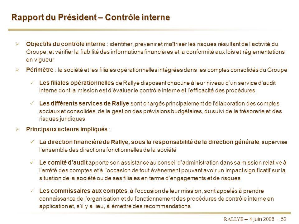 RALLYE – 4 juin 2008 - 51 Gouvernement dentreprise - Rapport du Président Les jetons de présence comprennent une partie forfaitaire de 4 000 euros et