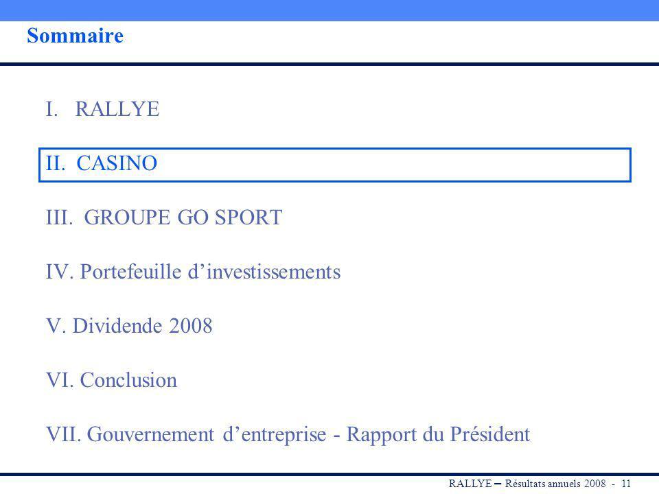 RALLYE – Résultats annuels 2008 - 10 Couverture des frais financiers par les dividendes En 2008, les dividendes perçus par Rallye couvrent 1,1 fois le