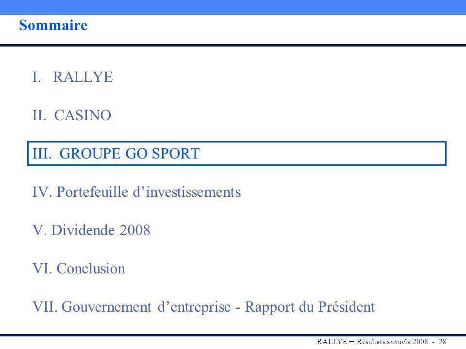 RALLYE – Résultats annuels 2008 - 27 Conclusion La performance du Groupe en 2008 démontre lefficacité de son modèle opérationnel et commercial, bien a