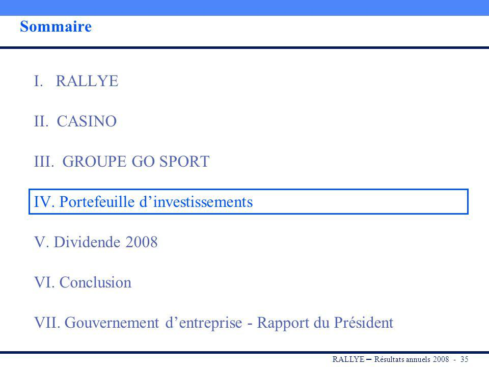RALLYE – Résultats annuels 2008 - 34 Conclusion Une année 2008 difficile, mais mise à profit pour déployer le plan dactions défini fin 2007, qui a commencé à porter ses fruits… Stocks assainis Magasins non rentables fermés Augmentation de la productivité Coûts maîtrisés … comme en témoigne lamélioration de tendance en chiffre daffaires et en EBITDA chez GO Sport France depuis le 2 nd semestre 2008 En 2009, le déloiement du lan dactions de Groue GO Sort va être oursuivi : Réorganisation du merchandising et des surfaces de vente Différenciation de loffre et optimisation du positionnement prix Communication pragmatique, modernisée et efficace Poursuite de la rationalisation de la supply-chain Maîtrise des investissements et meilleur contrôle des coûts En 2009, le déploiement du plan dactions de Groupe GO Sport va être poursuivi :