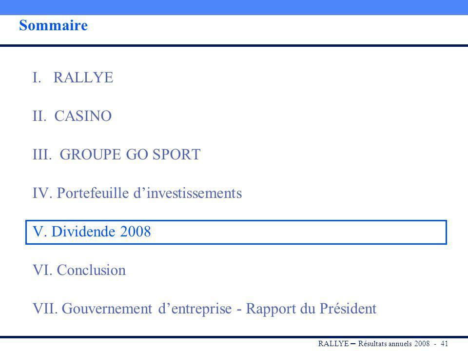 RALLYE – Résultats annuels 2008 - 40 Des projets immobiliers en portefeuille pour 243 M Des actifs commerciaux de qualité, détenus pour lessentiel ave