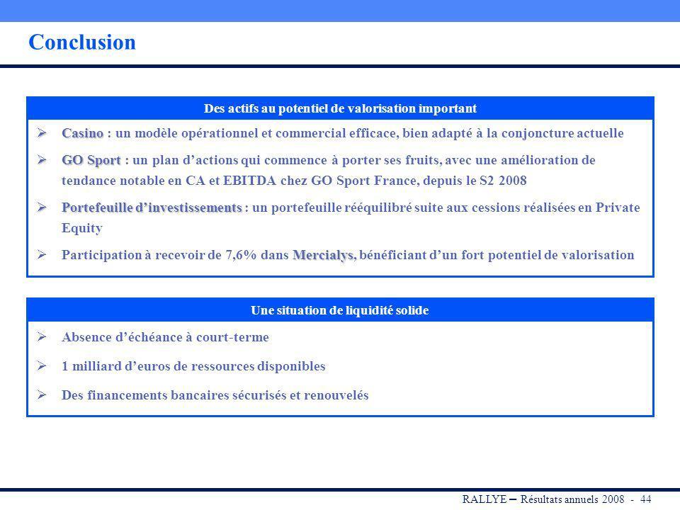 RALLYE – Résultats annuels 2008 - 43 Sommaire I. RALLYE II.