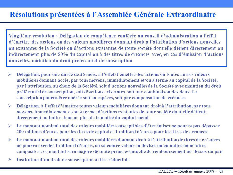 RALLYE 3 juin 2009 RESOLUTIONS PRESENTEES A LASSEMBLEE GENERALE EXTRAORDINAIRE