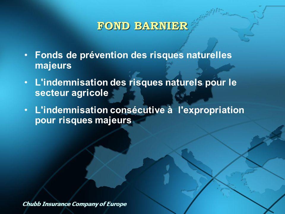 Chubb Insurance Company of Europe FOND BARNIER Fonds de prévention des risques naturelles majeurs L'indemnisation des risques naturels pour le secteur