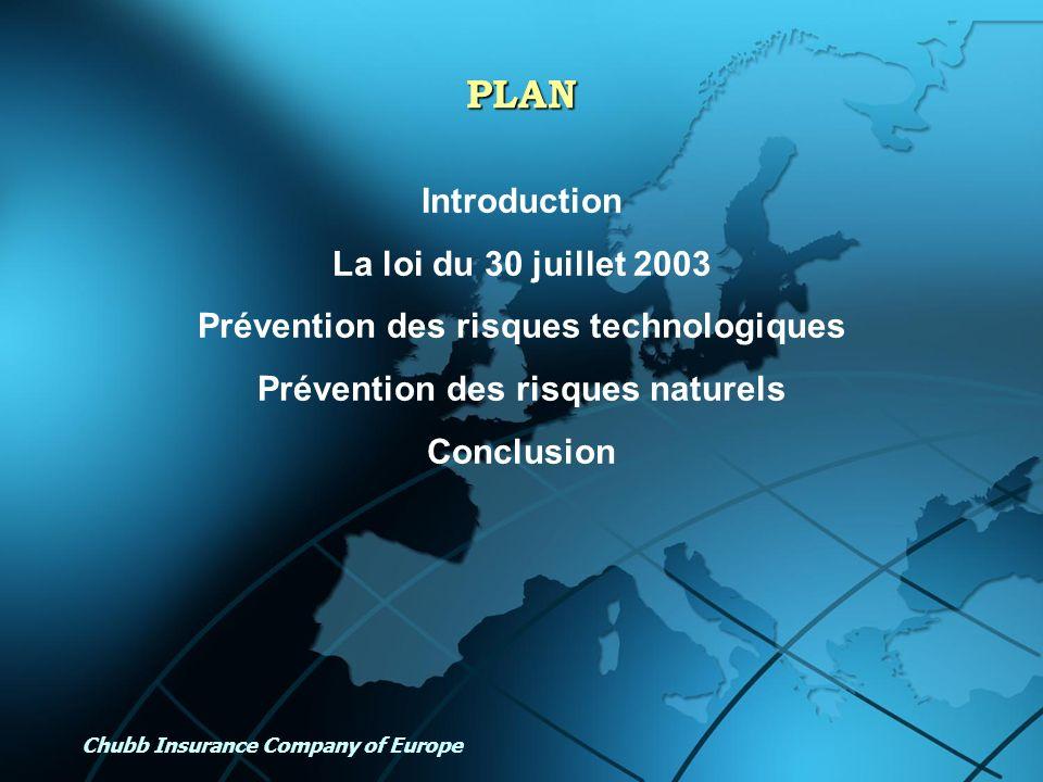 Chubb Insurance Company of Europe PLAN Introduction La loi du 30 juillet 2003 Prévention des risques technologiques Prévention des risques naturels Co