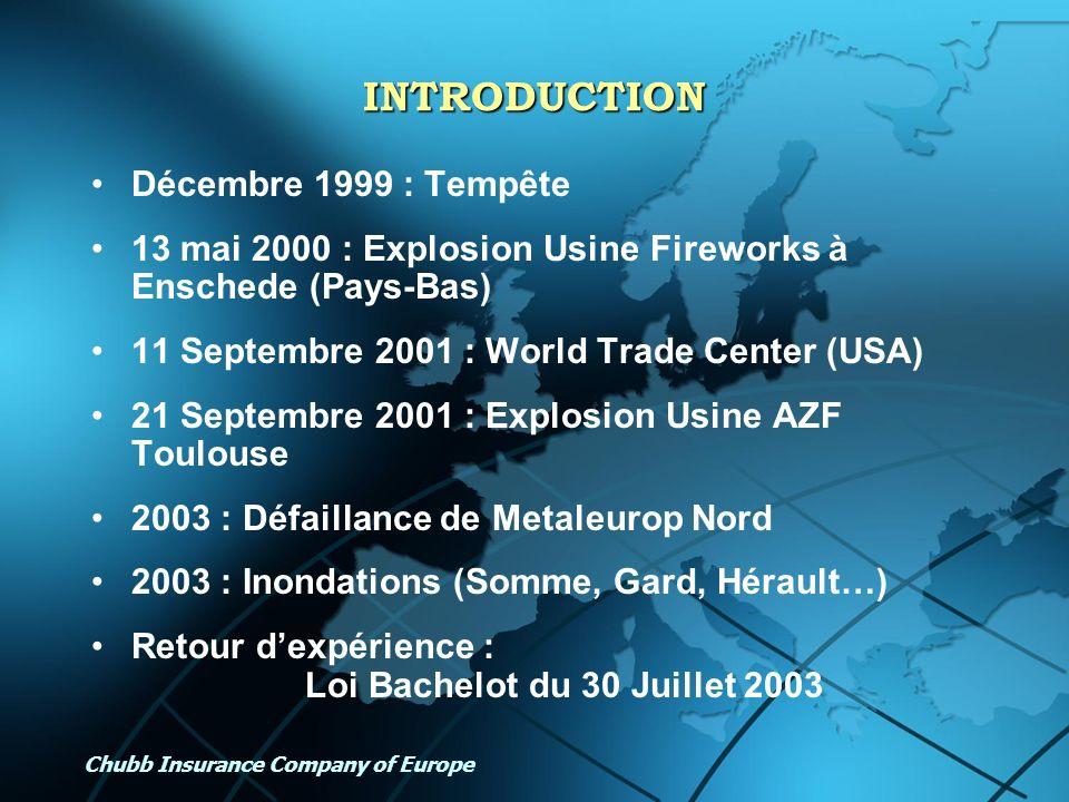 Chubb Insurance Company of Europe INTRODUCTION Décembre 1999 : Tempête 13 mai 2000 : Explosion Usine Fireworks à Enschede (Pays-Bas) 11 Septembre 2001