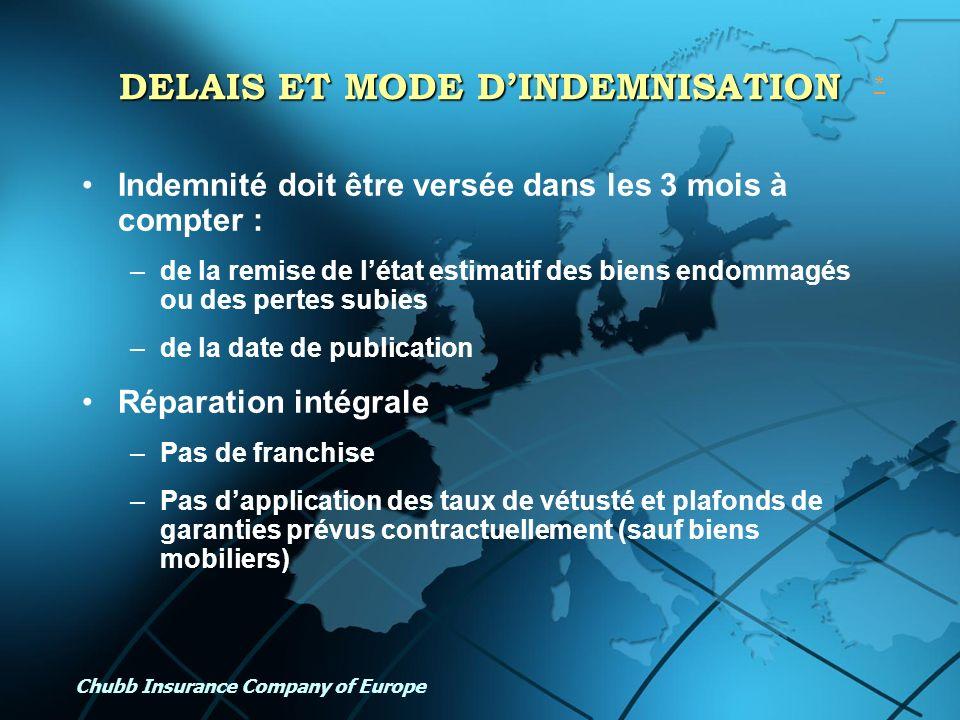 Chubb Insurance Company of Europe DELAIS ET MODE DINDEMNISATION Indemnité doit être versée dans les 3 mois à compter : –de la remise de létat estimati