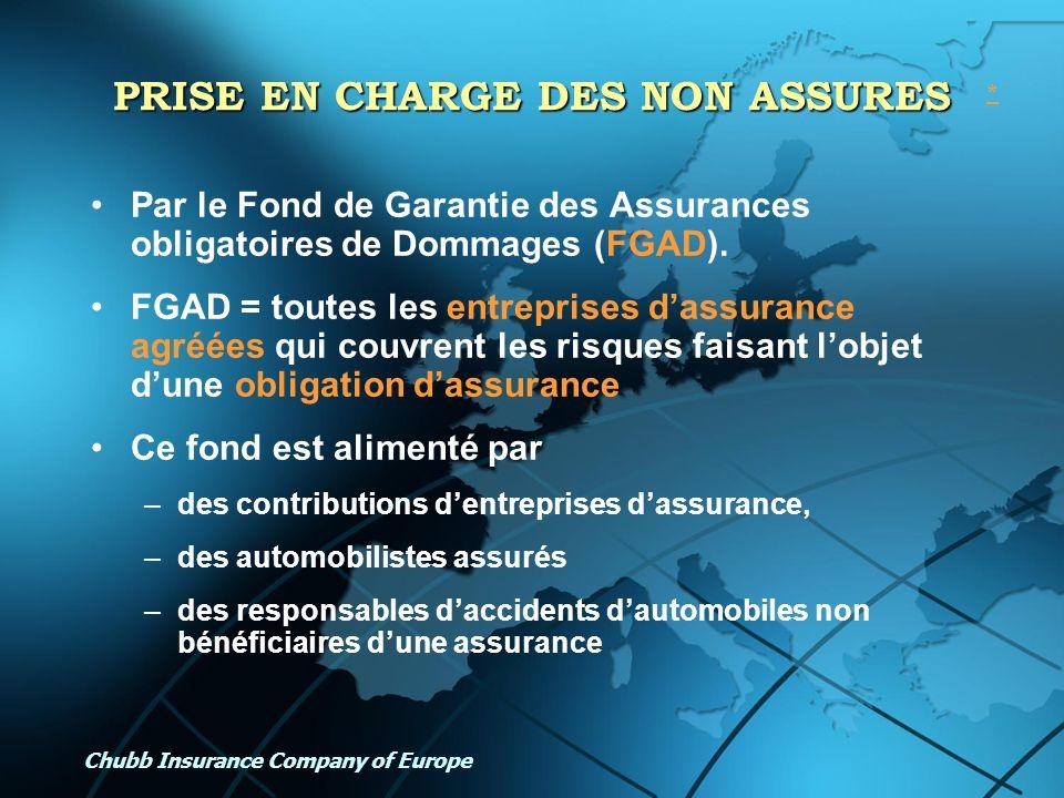 Chubb Insurance Company of Europe PRISE EN CHARGE DES NON ASSURES Par le Fond de Garantie des Assurances obligatoires de Dommages (FGAD). FGAD = toute