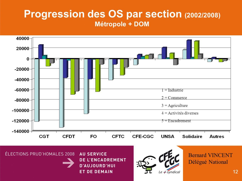 12 Progression des OS par section (2002/2008) Métropole + DOM 1 = Industrie 2 = Commerce 3 = Agriculture 4 = Activités diverses 5 = Encadrement Bernard VINCENT Délégué National