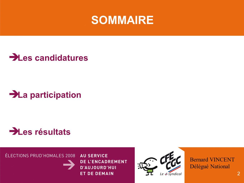 2 SOMMAIRE Les candidatures La participation Les résultats Bernard VINCENT Délégué National