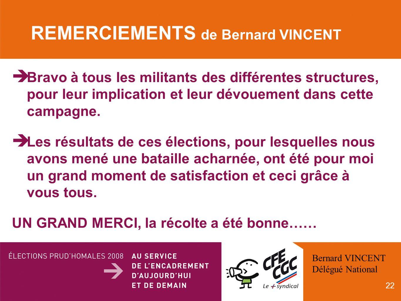 22 REMERCIEMENTS de Bernard VINCENT Bravo à tous les militants des différentes structures, pour leur implication et leur dévouement dans cette campagne.