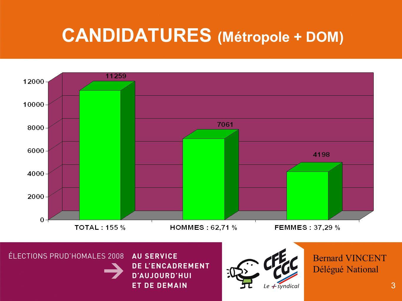 3 CANDIDATURES (Métropole + DOM) Bernard VINCENT Délégué National