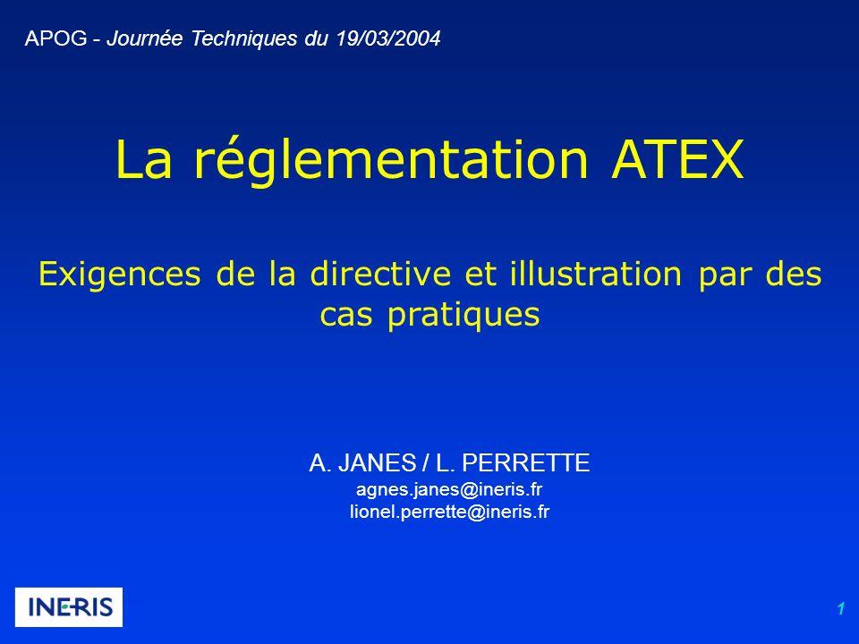 1 La réglementation ATEX Exigences de la directive et illustration par des cas pratiques A. JANES / L. PERRETTE agnes.janes@ineris.fr lionel.perrette@