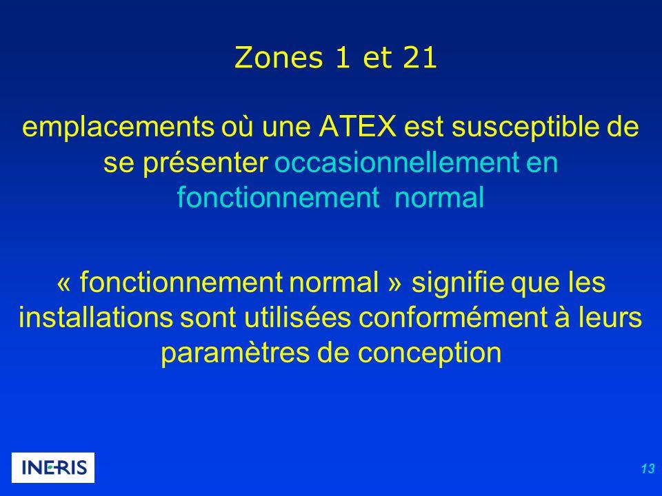 13 Zones 1 et 21 emplacements où une ATEX est susceptible de se présenter occasionnellement en fonctionnement normal « fonctionnement normal » signifi