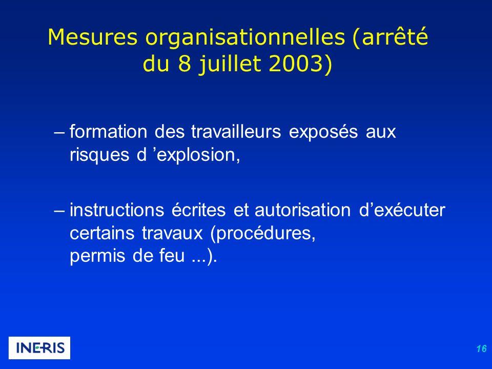 16 Mesures organisationnelles (arrêté du 8 juillet 2003) –formation des travailleurs exposés aux risques d explosion, –instructions écrites et autoris