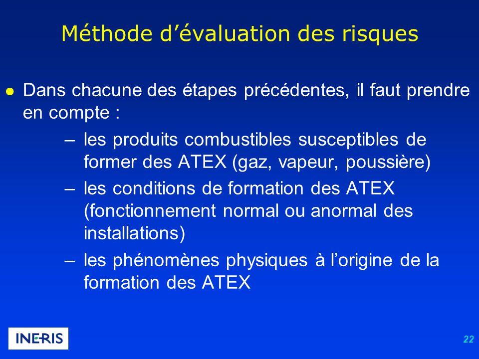 22 l Dans chacune des étapes précédentes, il faut prendre en compte : –les produits combustibles susceptibles de former des ATEX (gaz, vapeur, poussiè
