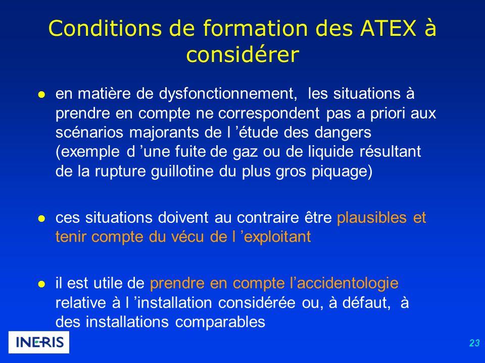 23 Conditions de formation des ATEX à considérer l en matière de dysfonctionnement, les situations à prendre en compte ne correspondent pas a priori a