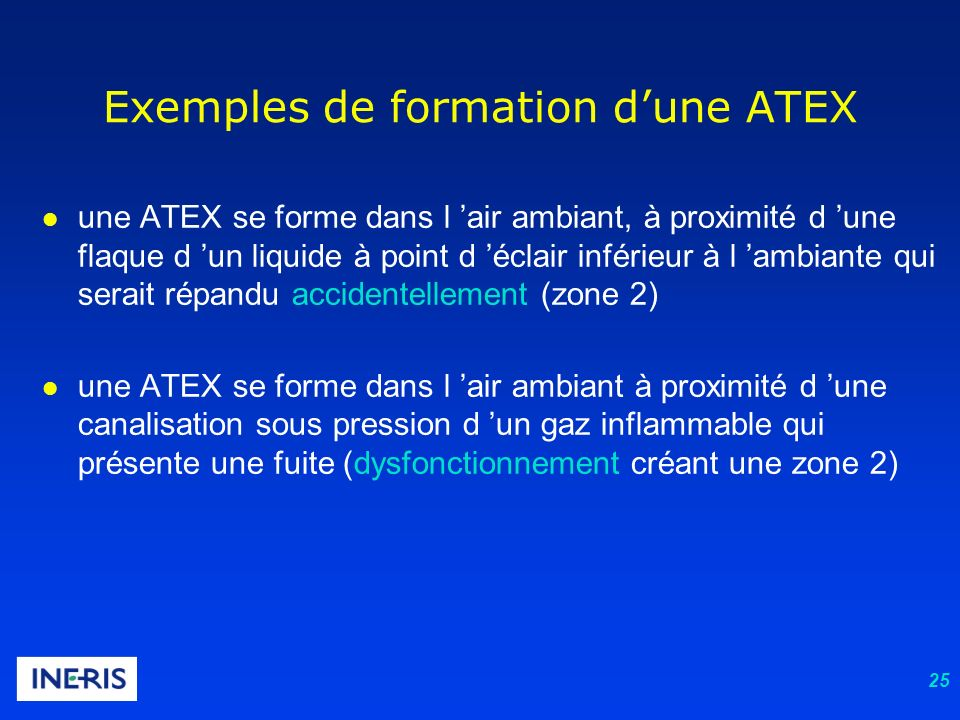 25 l une ATEX se forme dans l air ambiant, à proximité d une flaque d un liquide à point d éclair inférieur à l ambiante qui serait répandu accidentel