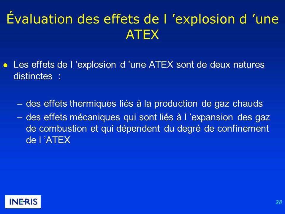 28 l Les effets de l explosion d une ATEX sont de deux natures distinctes : –des effets thermiques liés à la production de gaz chauds –des effets méca