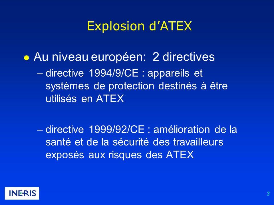4 l Au niveau français : 3 décrets –décret du 96-1010 (ministère chargé de l industrie) : appareils et systèmes de protection destinés à être utilisés en ATEX –décrets 2002-1553 et 2002-1554 (code du travail, art.