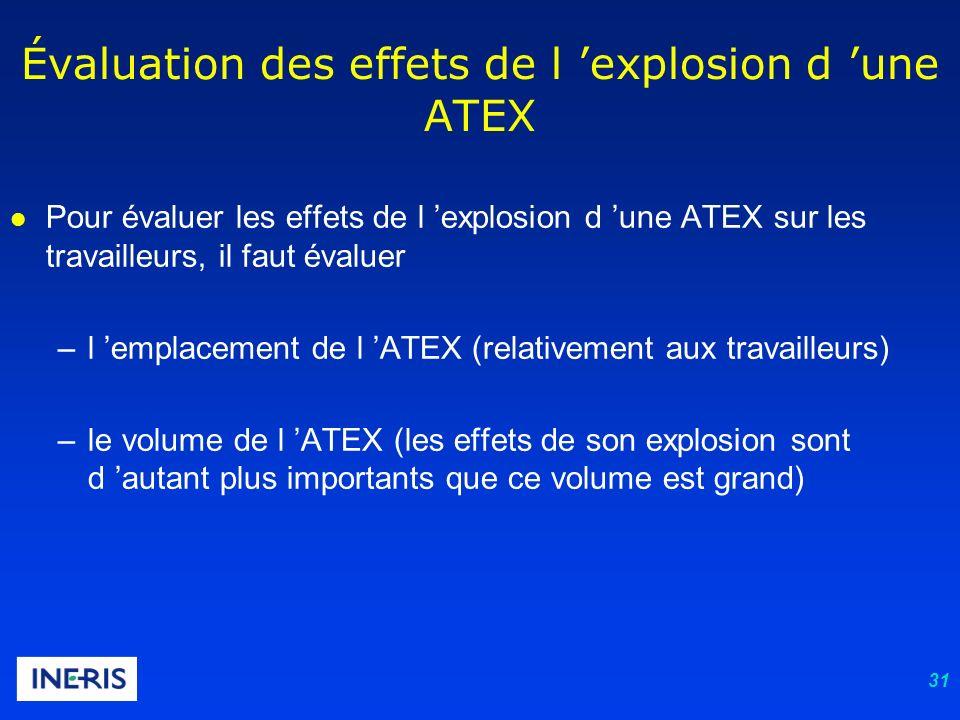 31 l Pour évaluer les effets de l explosion d une ATEX sur les travailleurs, il faut évaluer –l emplacement de l ATEX (relativement aux travailleurs)