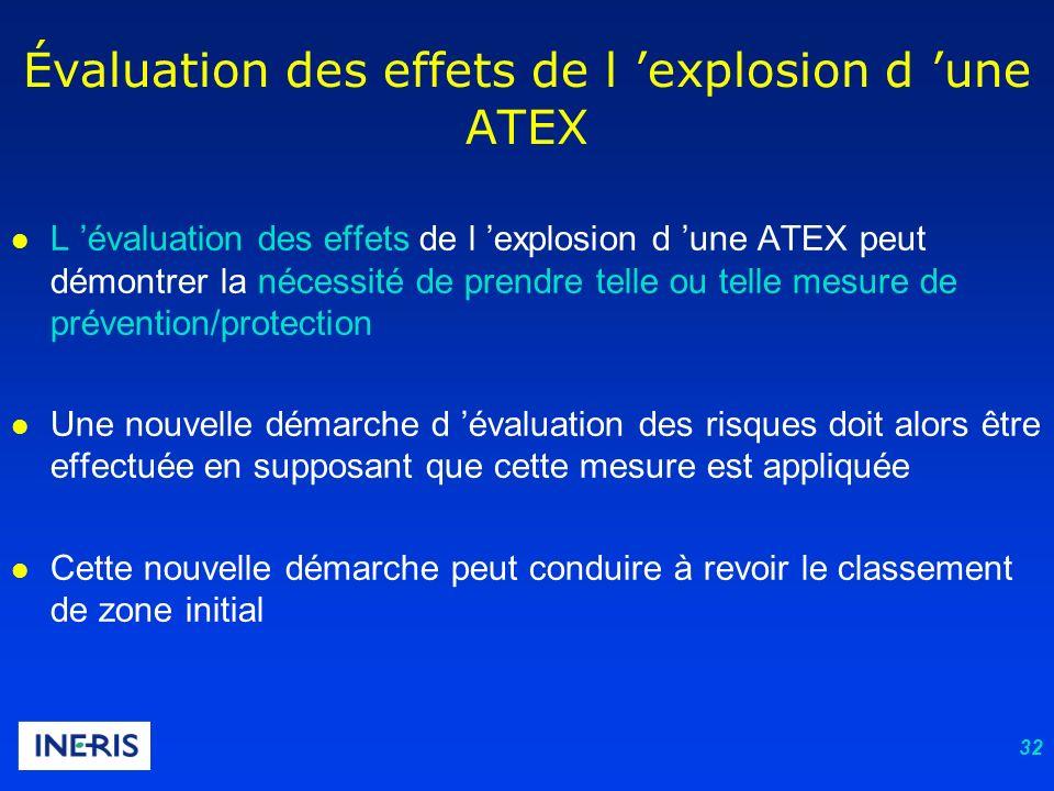 32 l L évaluation des effets de l explosion d une ATEX peut démontrer la nécessité de prendre telle ou telle mesure de prévention/protection l Une nou