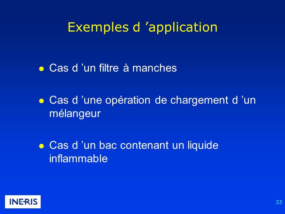 33 l Cas d un filtre à manches l Cas d une opération de chargement d un mélangeur l Cas d un bac contenant un liquide inflammable Exemples d applicati