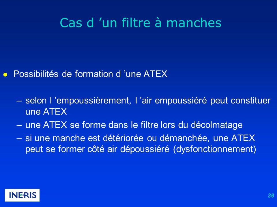 36 l Possibilités de formation d une ATEX –selon l empoussièrement, l air empoussiéré peut constituer une ATEX –une ATEX se forme dans le filtre lors