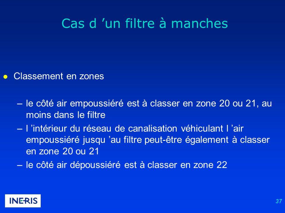 37 l Classement en zones –le côté air empoussiéré est à classer en zone 20 ou 21, au moins dans le filtre –l intérieur du réseau de canalisation véhic