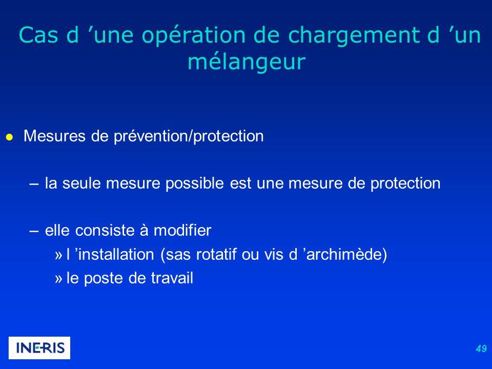 49 l Mesures de prévention/protection –la seule mesure possible est une mesure de protection –elle consiste à modifier »l installation (sas rotatif ou