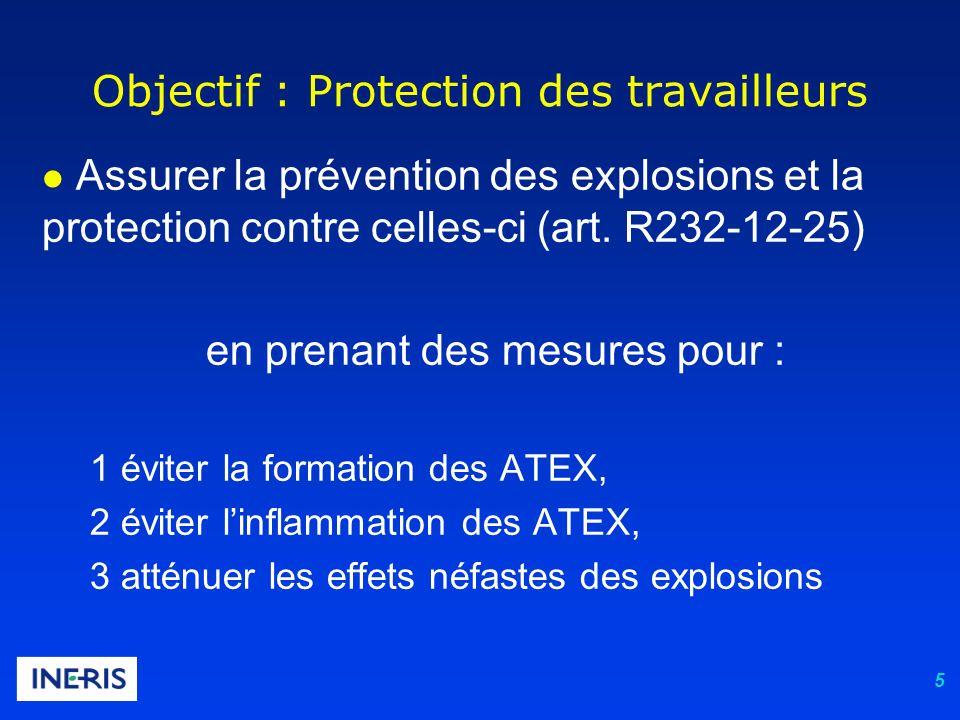 5 Objectif : Protection des travailleurs l Assurer la prévention des explosions et la protection contre celles-ci (art. R232-12-25) en prenant des mes