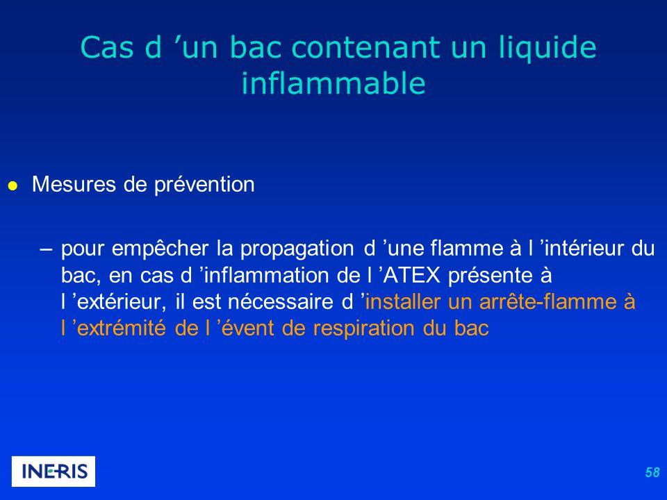 58 l Mesures de prévention –pour empêcher la propagation d une flamme à l intérieur du bac, en cas d inflammation de l ATEX présente à l extérieur, il