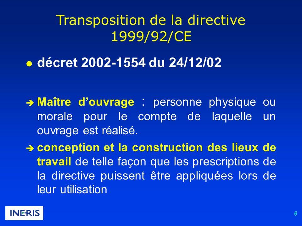6 Transposition de la directive 1999/92/CE l décret 2002-1554 du 24/12/02 è Maître douvrage : personne physique ou morale pour le compte de laquelle u
