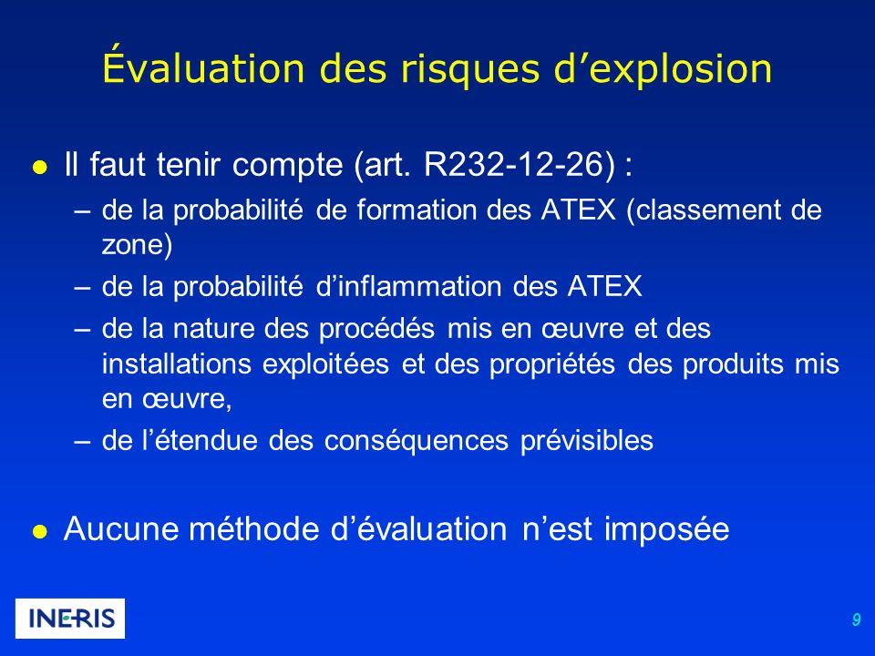 9 Évaluation des risques dexplosion l Il faut tenir compte (art. R232-12-26) : –de la probabilité de formation des ATEX (classement de zone) –de la pr
