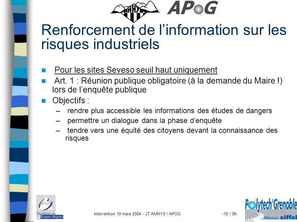 Intervention 19 mars 2004 - JT AMHYS / APOG-10 / 38- Renforcement de linformation sur les risques industriels Pour les sites Seveso seuil haut uniquem