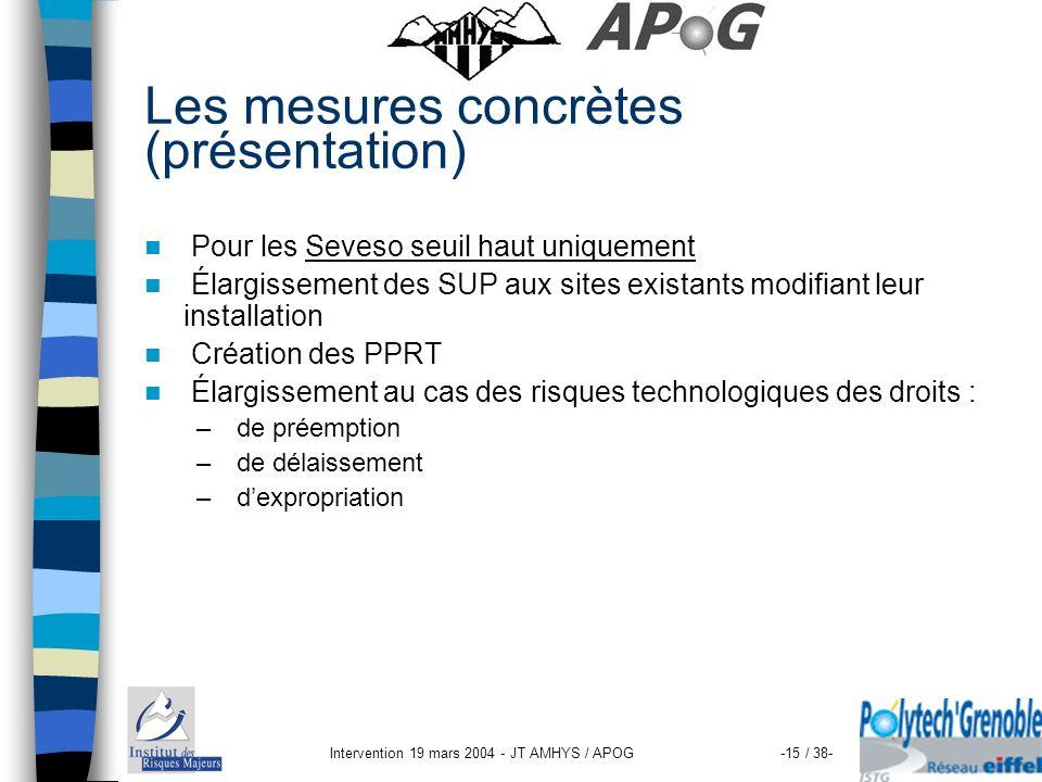Intervention 19 mars 2004 - JT AMHYS / APOG-15 / 38- Les mesures concrètes (présentation) Pour les Seveso seuil haut uniquement Élargissement des SUP