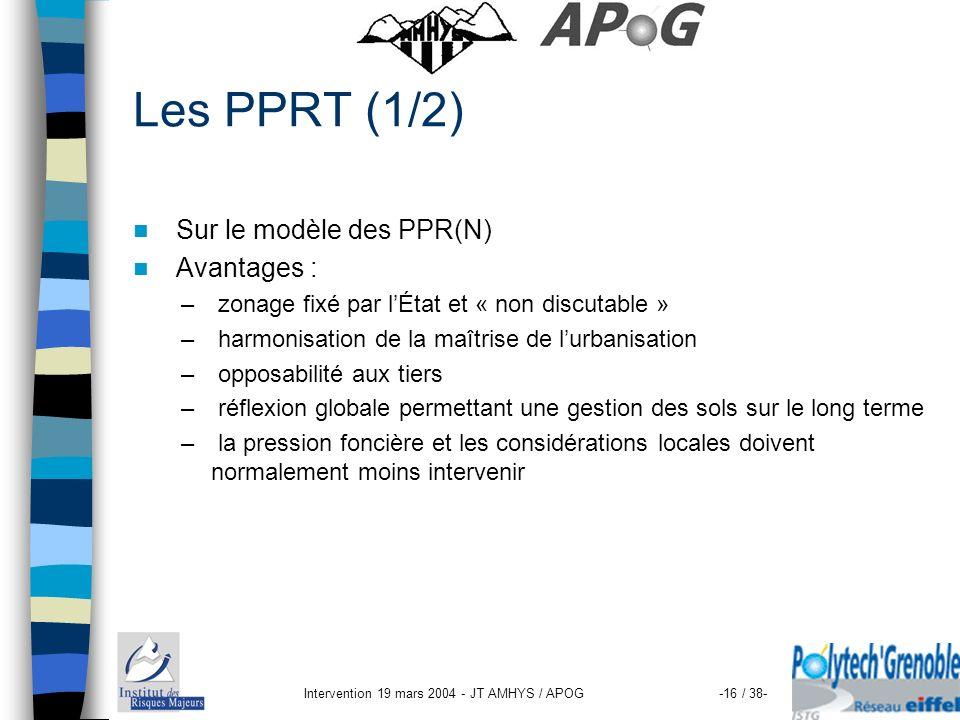 Intervention 19 mars 2004 - JT AMHYS / APOG-16 / 38- Les PPRT (1/2) Sur le modèle des PPR(N) Avantages : – zonage fixé par lÉtat et « non discutable »